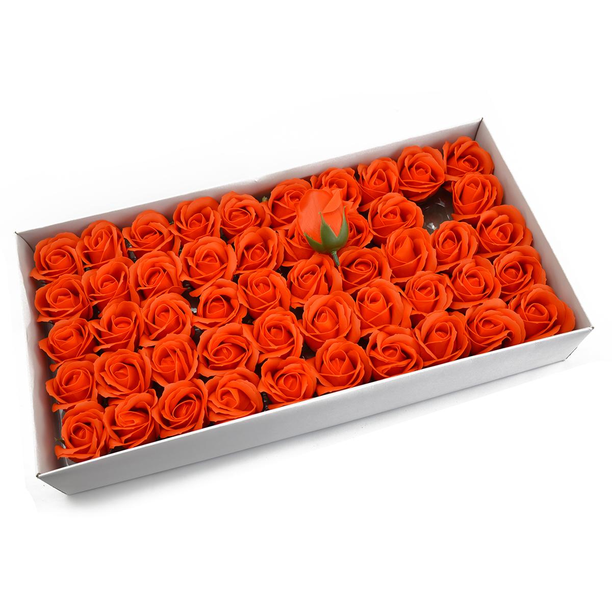 Set 50 trandafiri sapun parfumati, atingere reala, orange
