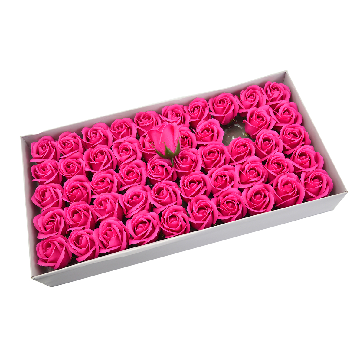 Set 50 trandafiri sapun parfumati, atingere reala, roz intens