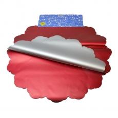 Celofan Rotund 50CM metalizat argintiu cu rosu