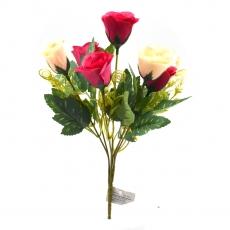 Flori Buchet 7 trandafiri wild crem cu siclam