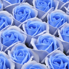 Set 50 trandafiri sapun parfumati, atingere reala, DUO, albastru sky-bleo