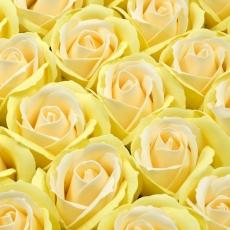 Set 50 trandafiri sapun parfumati, atingere reala, DUO, galben pal-piersica