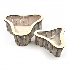 Set 2 cosuri lemn stea