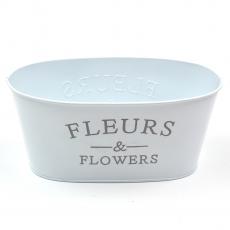 Ghiveci tabla tip jardiniera Fleurs alb