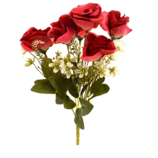 Flori Buchet 6 Trandafiri Madame rosu cu galben