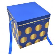 Cutie pliabila subtire patrata model buline albastru