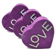 Set 3 cutii inima catifea cu strasuri love mov