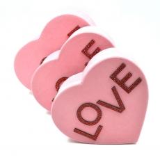 Set 3 cutii inima catifea cu strasuri love roz