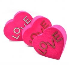 Set 3 cutii inima catifea cu strasuri love siclam
