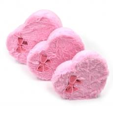 Set 3 cutii inima plush cu fundita roz
