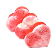 Set 3 cutii inima plush rosu cu alb