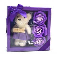 Pachet best wishes ursulet cu trandafiri de sapun mov