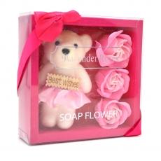 Pachet best wishes ursulet cu trandafiri de sapun roz
